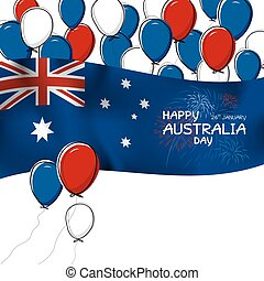 Australia day design of flag and balloon with firwork on white background vector illustration