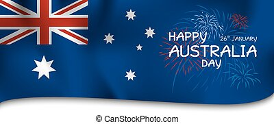Australia day design of flag and firework vector illustration