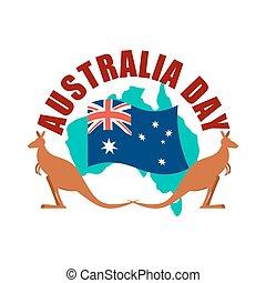 Australia Day emblem. Kangaroo Australian flag and map.