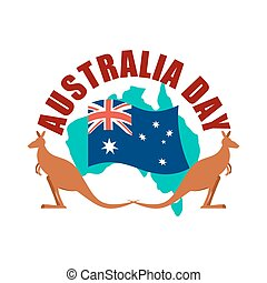 Australia Day emblem. Kangaroo Australian flag and map.