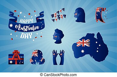 australia day, flag national with people profile hands map balloons and gift icons