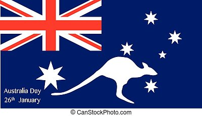 Australia Day Kangaroo - Map of Australia with text for...