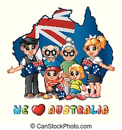 Australia Day National Flag map with big family