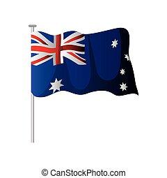 australia day, waving australian flag in pole patriotism