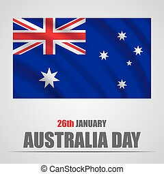 Australia Day with waving flag on a gray background. Vector illustration