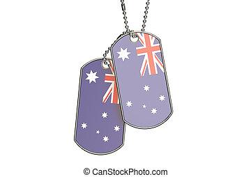 Australia Dog Tags, 3D rendering
