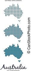 Australia Dot Map - Editable Grid Stroke