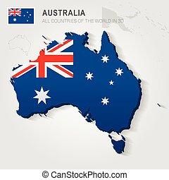Australia drawn on gray map.