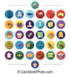 Australia, Egypt, animals and other web icon in flat style. animal, business, travel, icons in set collection.