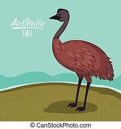 australia emu poster with outdoor scene in colorful...