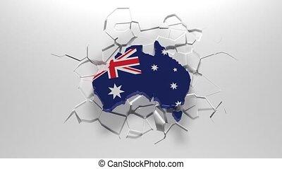 Australia falls and breaks the ground. Cracks under Australia. Australia in danger