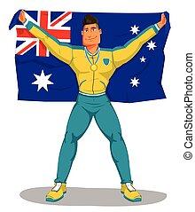 australia, flag., aislado, championship., jugadores, vector, celebrar, levantar