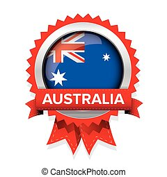 Australia flag badge vector
