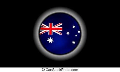 Australia flag button isolated on black