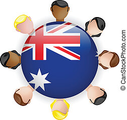 Australia Flag Button Teamwork People Group
