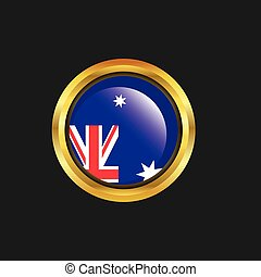 Australia flag Golden button