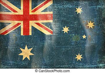 Australia flag grunge  on old vintage paper