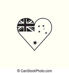 Australia flag icon in a heart shape in black outline flat design