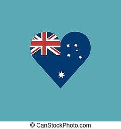 Australia flag icon in a heart shape in flat design