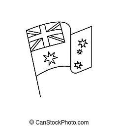 Australia flag icon, outline style
