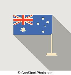 Australia flag in flat style with long shadow