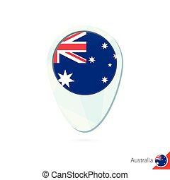 Australia flag location map pin icon on white background.