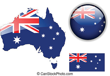Australia flag, map and glossy butt