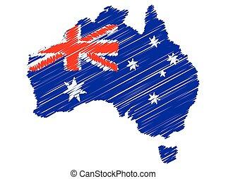 Australia Flag Map Hand Drawn