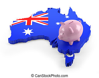 Australia Flag Map on Piggy Bank
