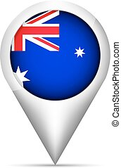 Australia flag map pointer with shadow. Vector illustration