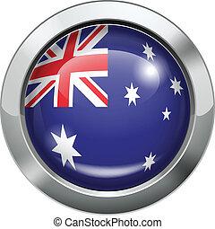 Australia flag metal button