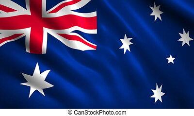 Australia flag Motion video waving in wind. Flag Closeup 1080p HD footage