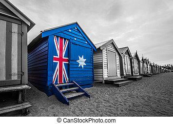 Australia flag on a beach hut. A bathing beach box painted...