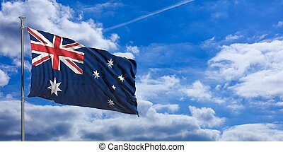 Australia flag on a blue sky background. 3d illustration
