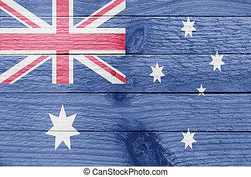Australia flag on a wooden plank