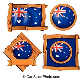 Australia flag on different frame designs