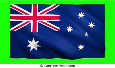 Australia flag on green screen for chroma key