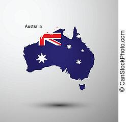 Australia flag on map