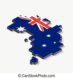 Australia flag on map element with 3D isometric shape isolated on background, vector illustration
