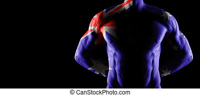 Australia flag on muscled male torso with abs