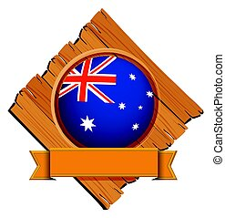 Australia flag on round button with banner