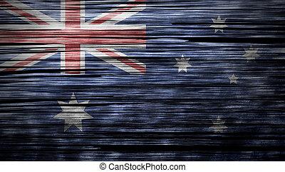 Australia flag on wood texture background