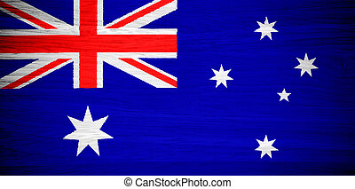 Australia flag on wood texture