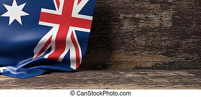 Australia flag on wooden background. 3d illustration