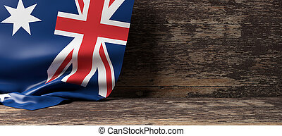 Australia flag on wooden background. 3d illustration