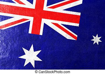 Australia Flag painted on leather texture
