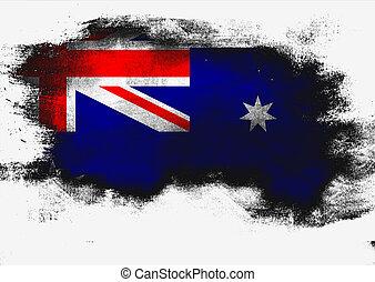 Australia flag painted with brush