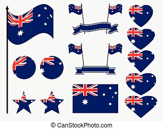 Australia flag set. Collection of symbols, flag in heart. Vector illustration