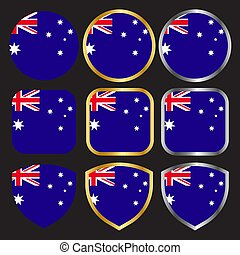 australia flag vector icon set with gold and silver border