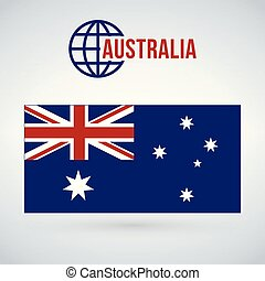 Australia flag vector illustration isolated on modern background with shadow.